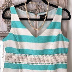 Taylor Aqua and Cream Striped Shift Dress size 8